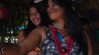 Selfie of Native Brazilians in a Tribe