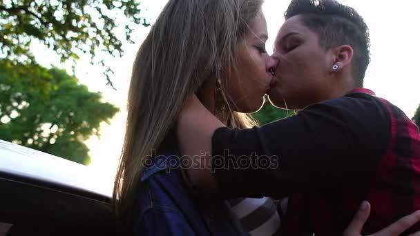 Latino lesbians in a car