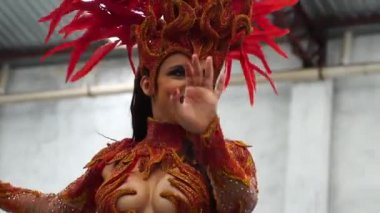 Woman Wearing Carnival Costume Dancing Samba