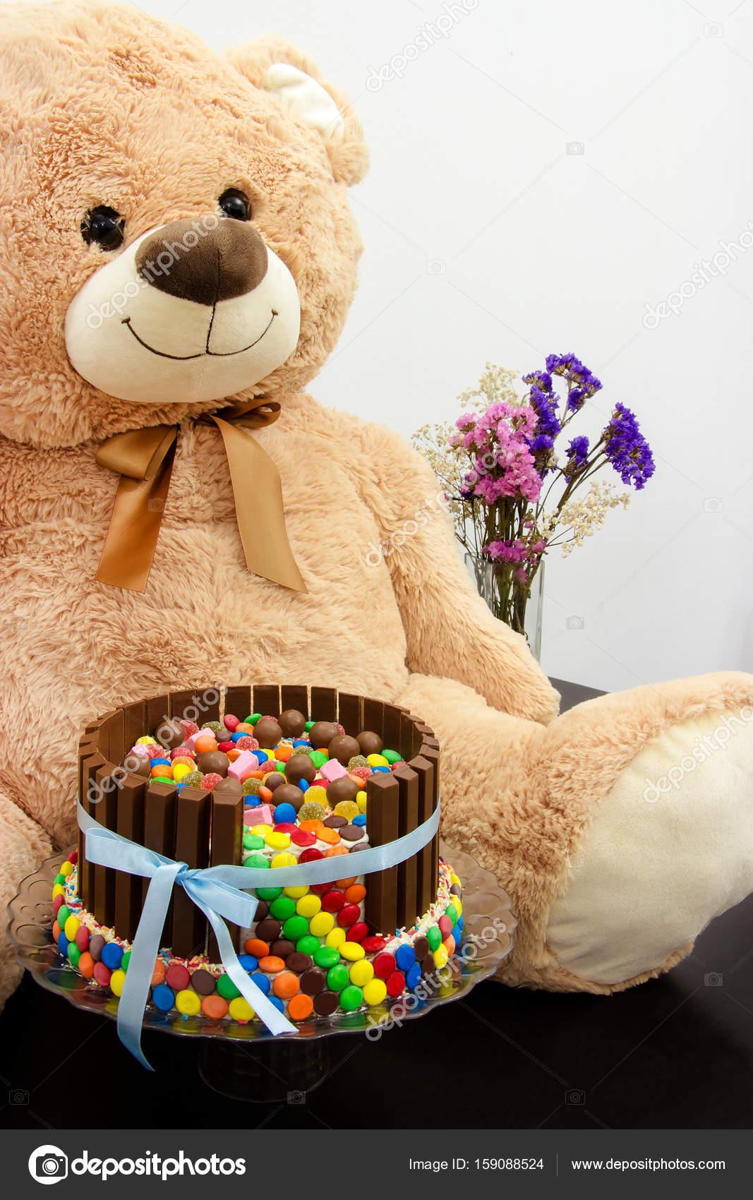 Happy Birthday Cake And Big Teddy Bear Festive Tea Party Pinata Stock