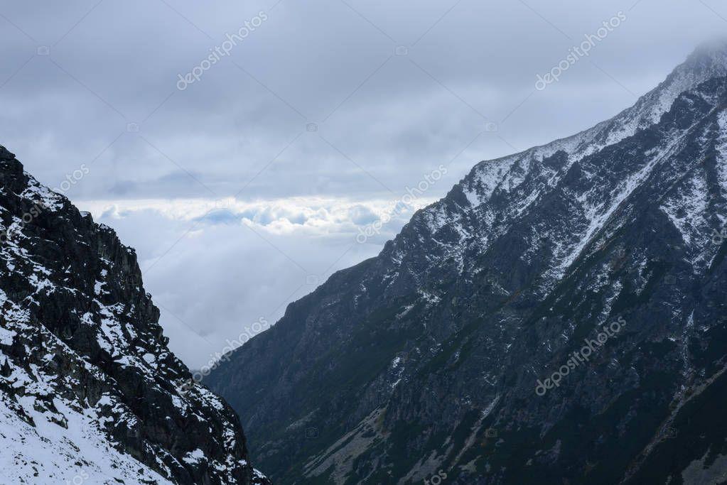 slovakian carpathian mountains in autumn. sunny hill tops in win