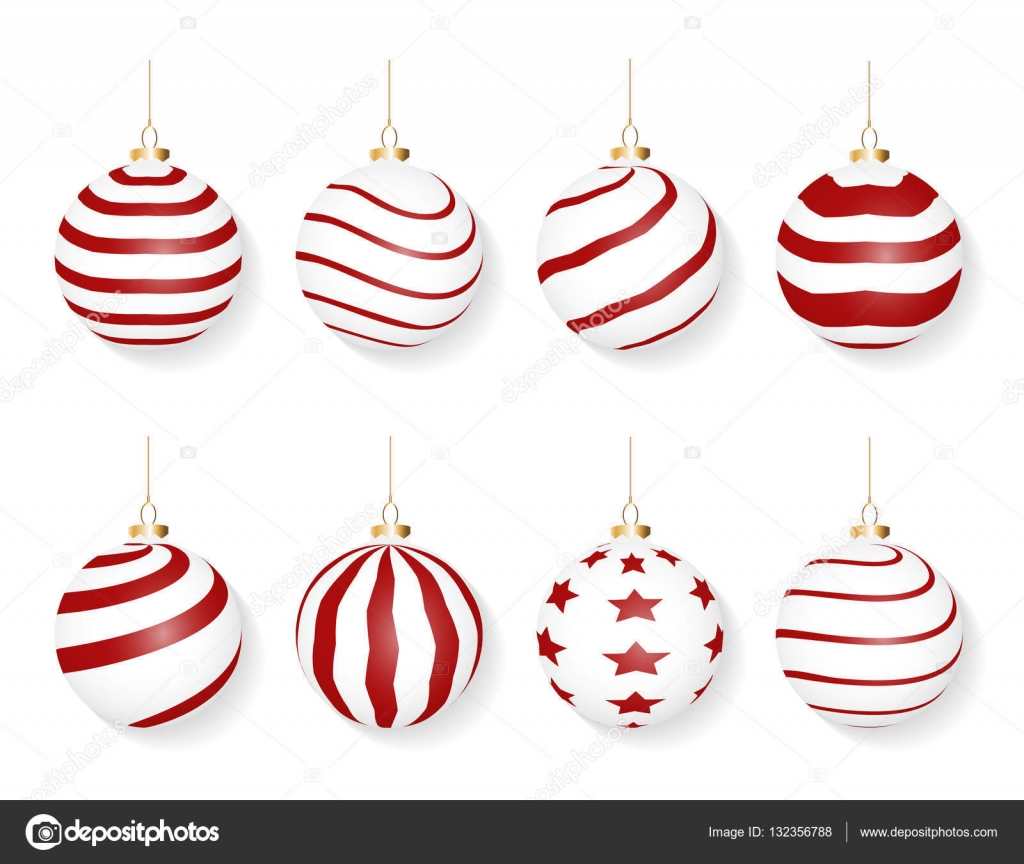 Set Of Red White Christmas Balls Isolated On White Background