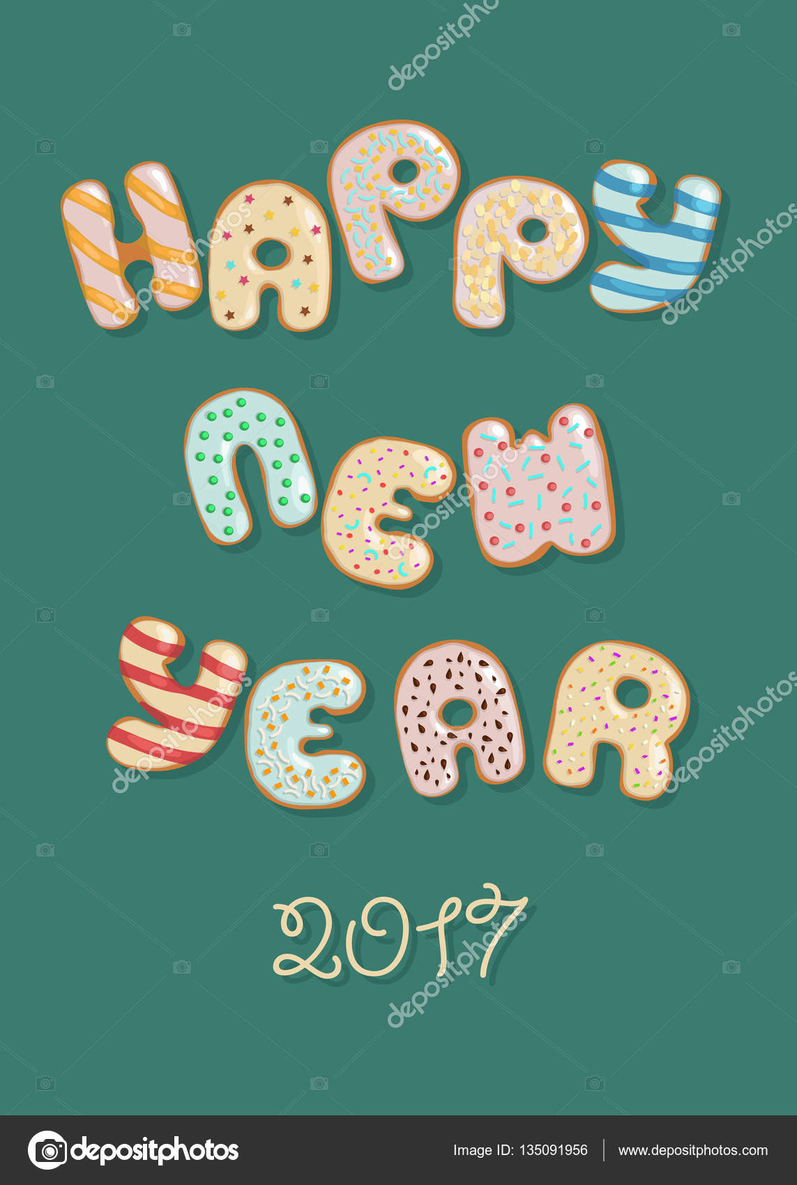 happy new year 2017 sweet donuts stock photo