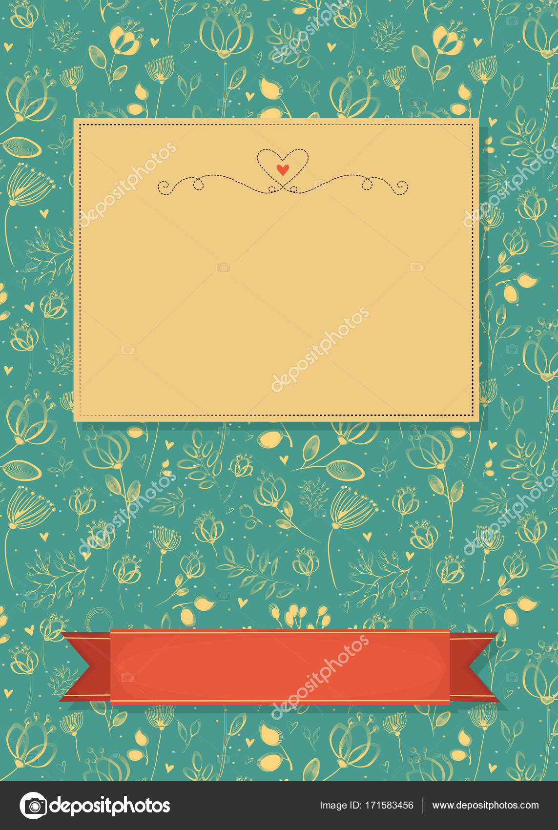 Floral Greeting Card With Banners For Custom Text Stock Photo