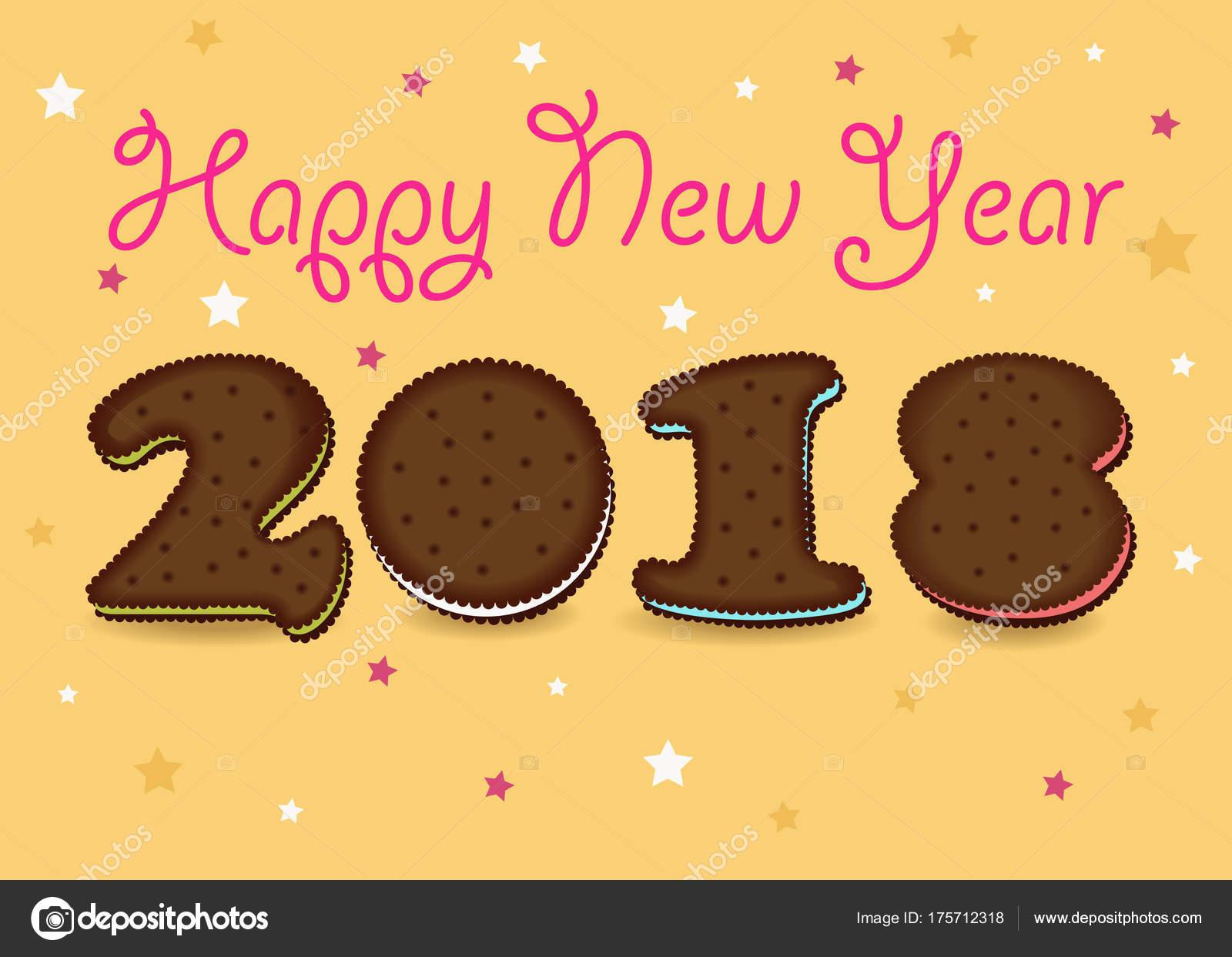 happy new year 2018 sweet cookies font stock vector