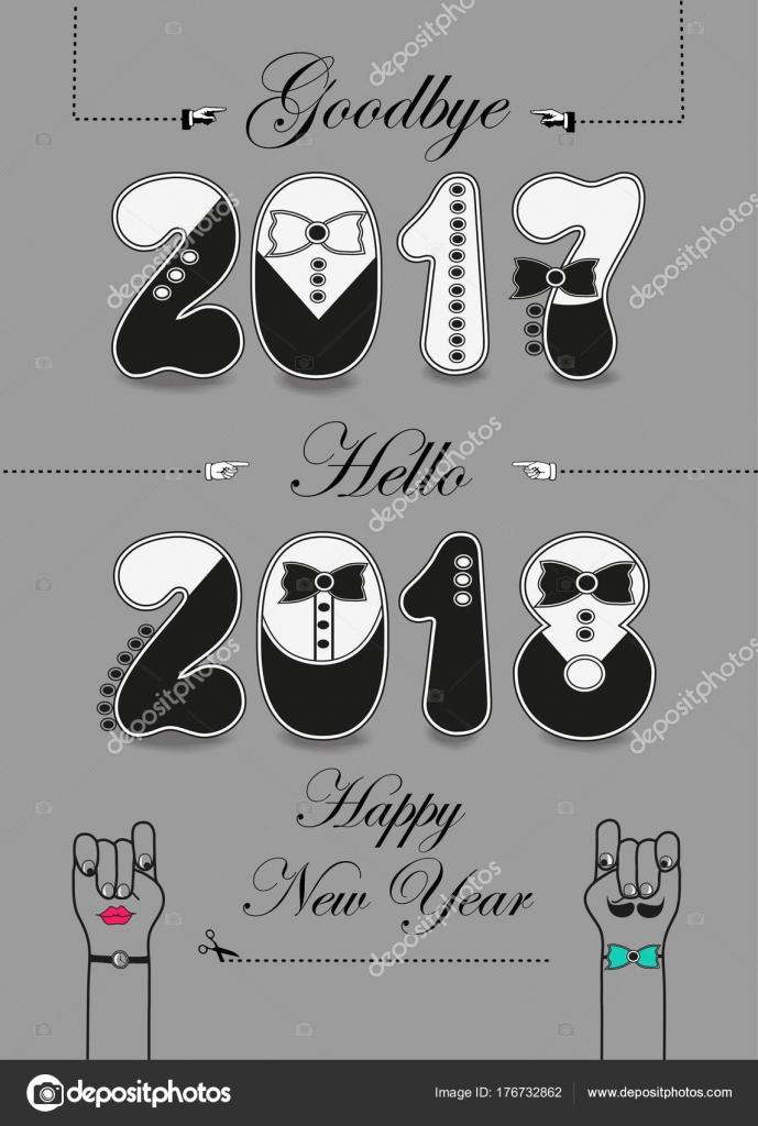 Adiós 2017 Hola 2018 Feliz Año Nuevo Vector De Stock