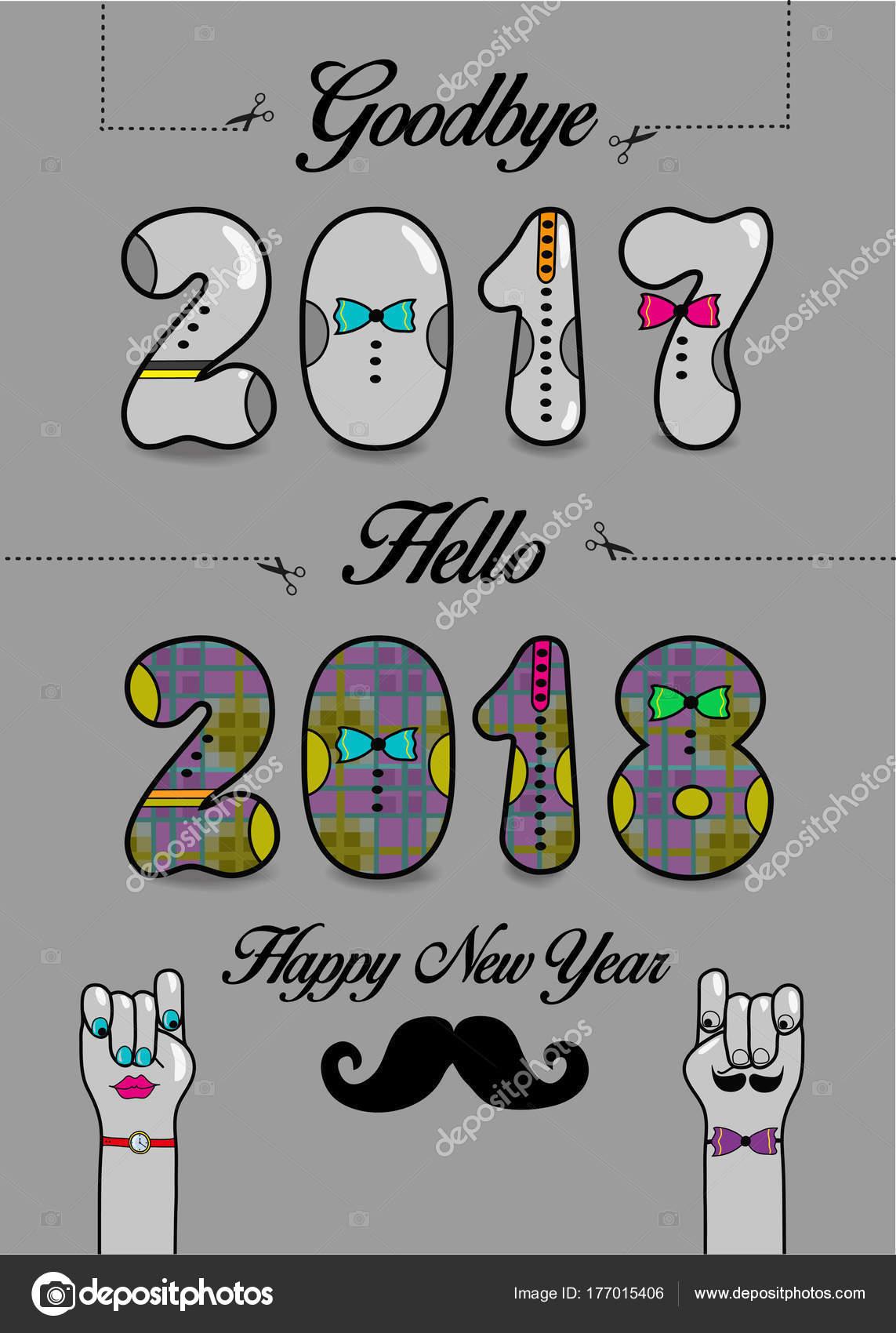 Adiós 2017 Hola 2018 Feliz Año Nuevo Archivo Imágenes