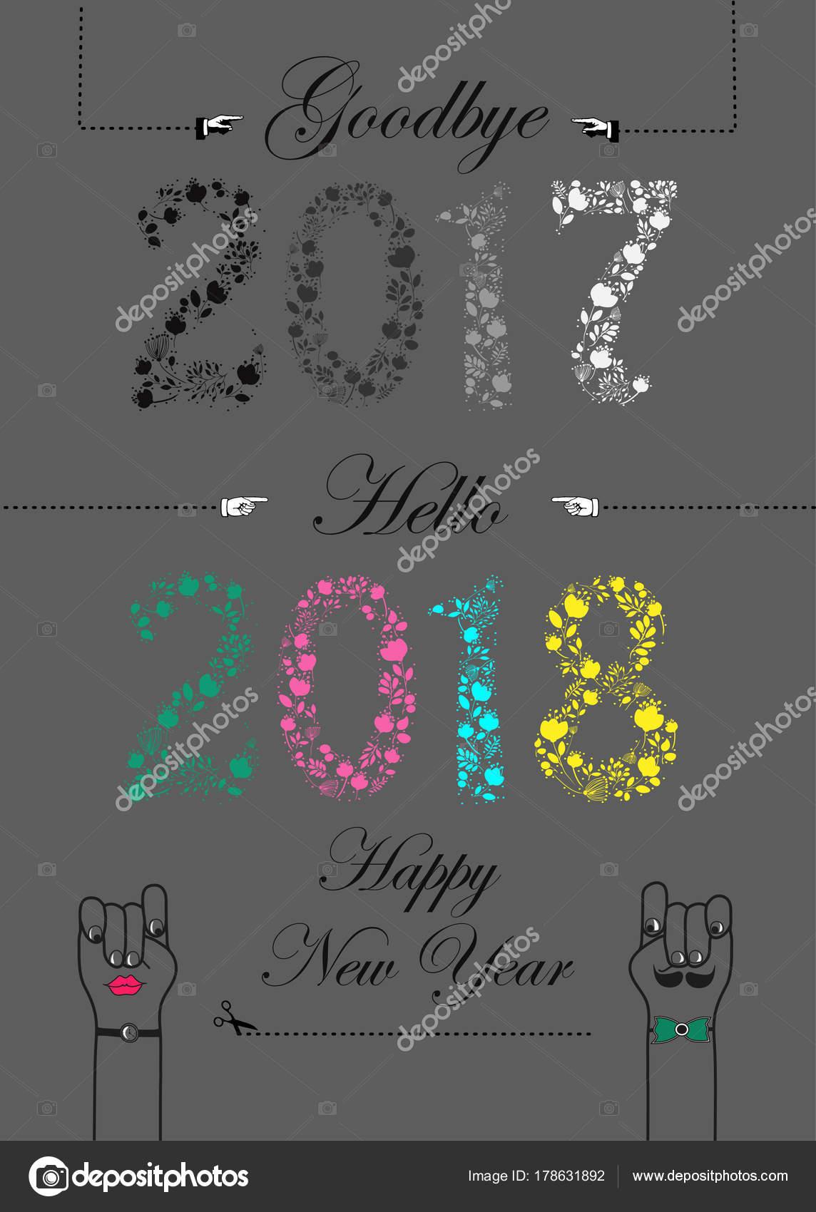 Adiós 2017 Hola 2018 Feliz Año Nuevo Fotos De Stock