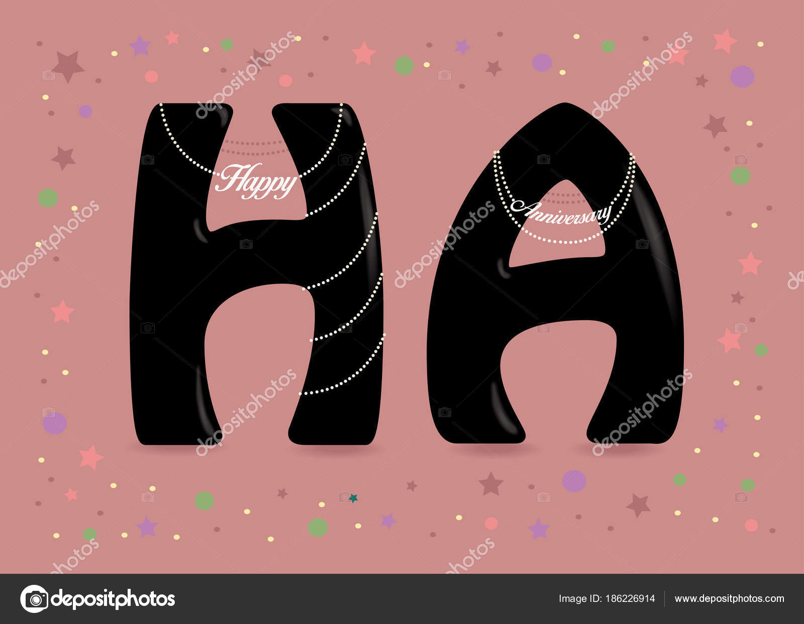 Happy anniversary black signs with pearl collars u stock vector