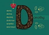Fotografie Name Day Card for Dorothy. Artistic brown letter D with golden floral decor. Vintage heart with chain. Words begining with the letter D - determined, dexterous, daring, darling, delightful, dazzling