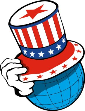 concept  globe a head in an American top hat