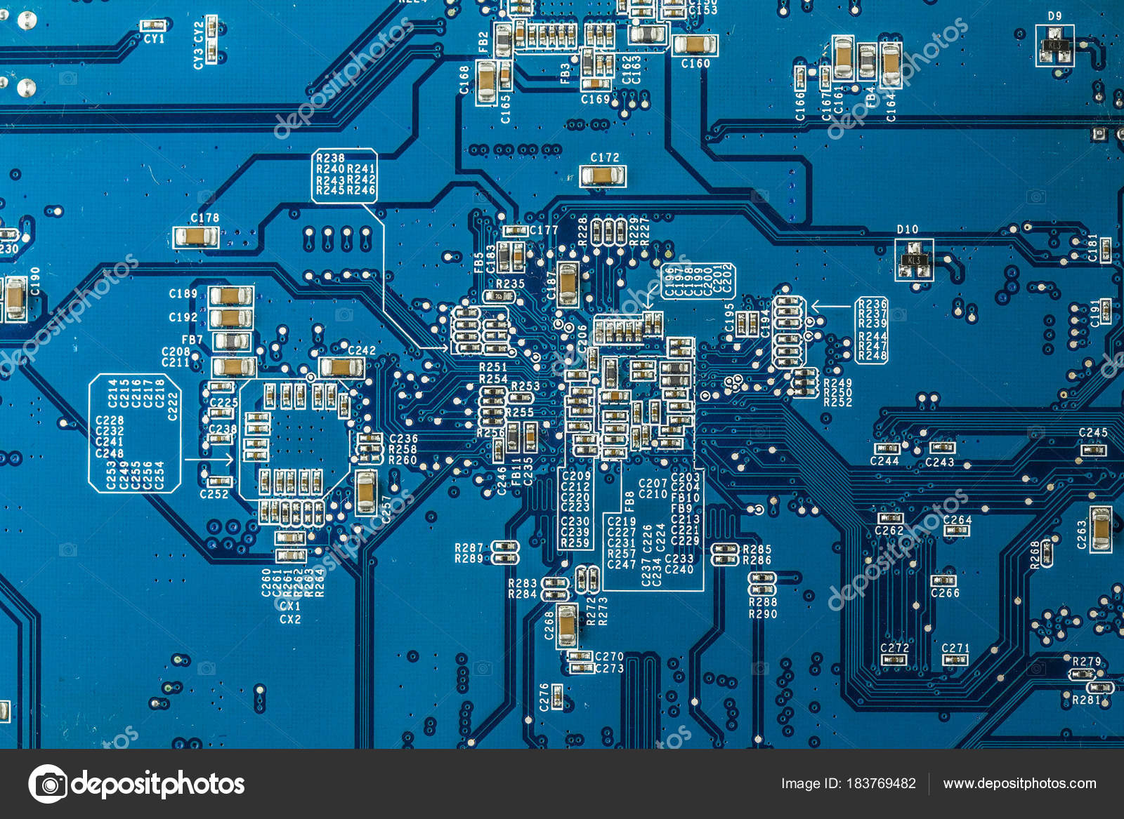 Close Up Photo Of Blue Pcb Stock Petrsvoboda91 183769482 Stockfoto Printed Circuit Board Used In Industrial Electronic Printecd With Parts By