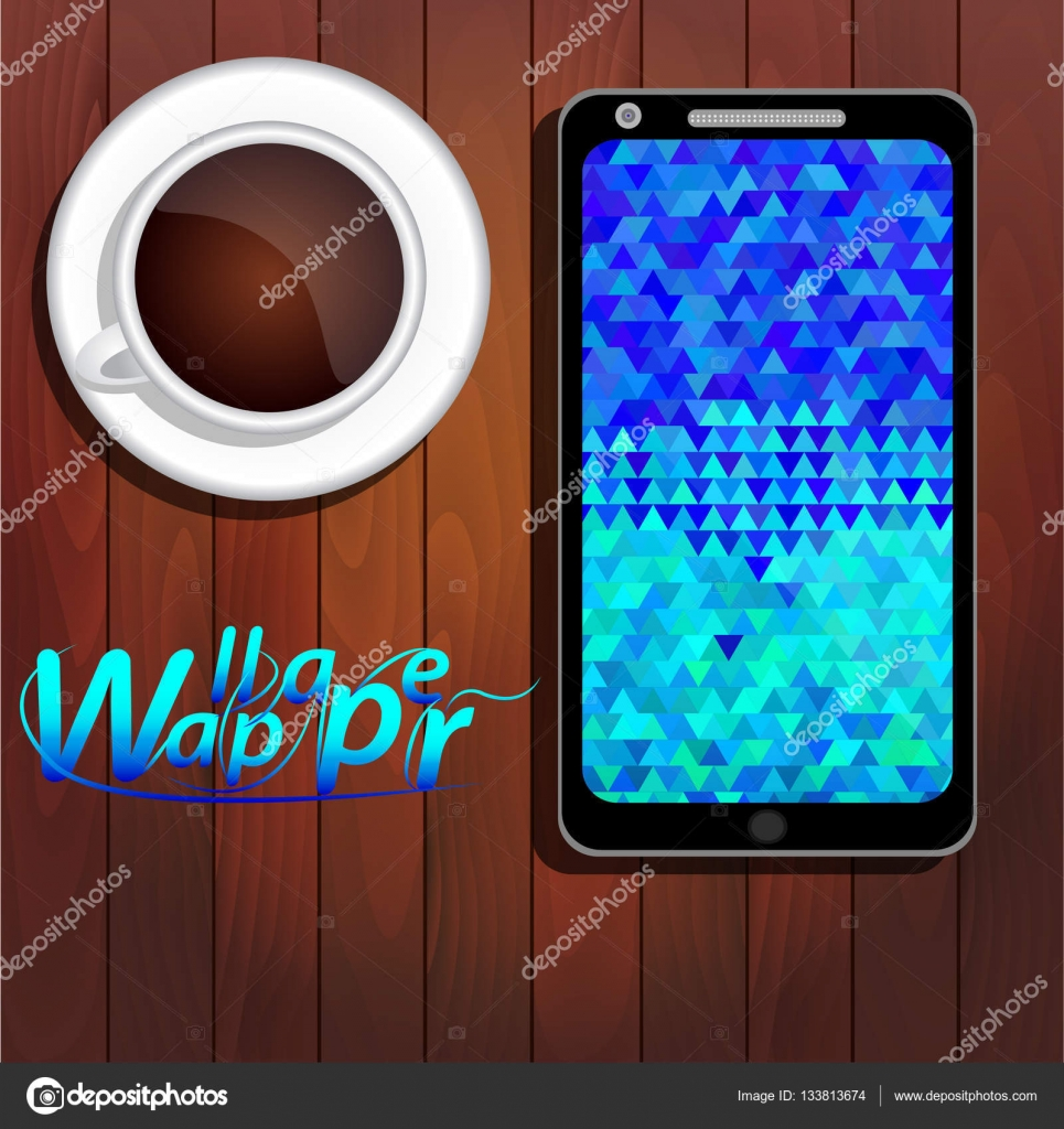 Papel De Parede Azul Triangulos Na Tela Do Smartphone Vetor Stock