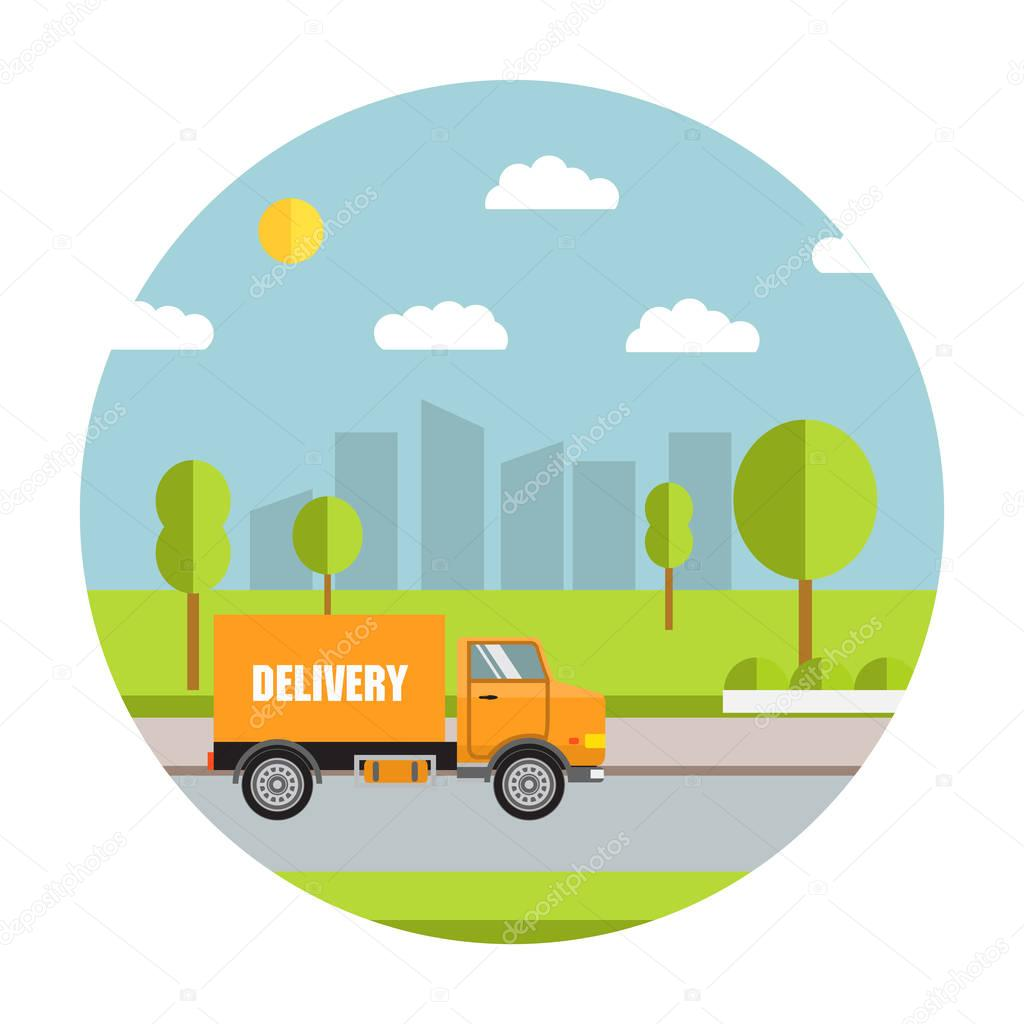Vector the commercial truck on delivery. For firms on delivery of various goods, booklets, leaflets, a banner on the website. City service of delivery. Flat