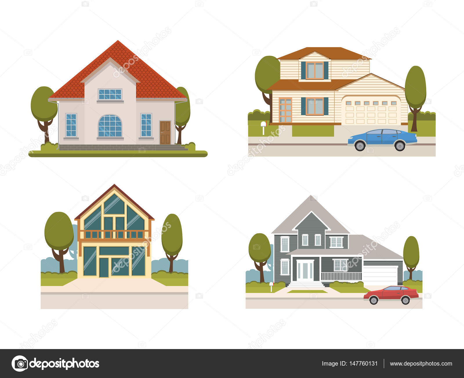 Vector Flat Set Of Country Houses And Chalet Collection For Booking And  Living And Apartment Set. Tourist Homes Isolated.Suburban Houses Collection  Of ...