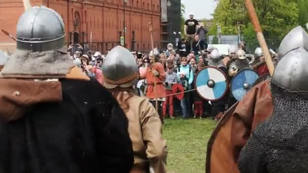 St. Petersburg, Russia - May 27, 2017: Illustrative battle of the ancient Vikings. Historical reconstruction at the festival in St. Petersburg, Russia