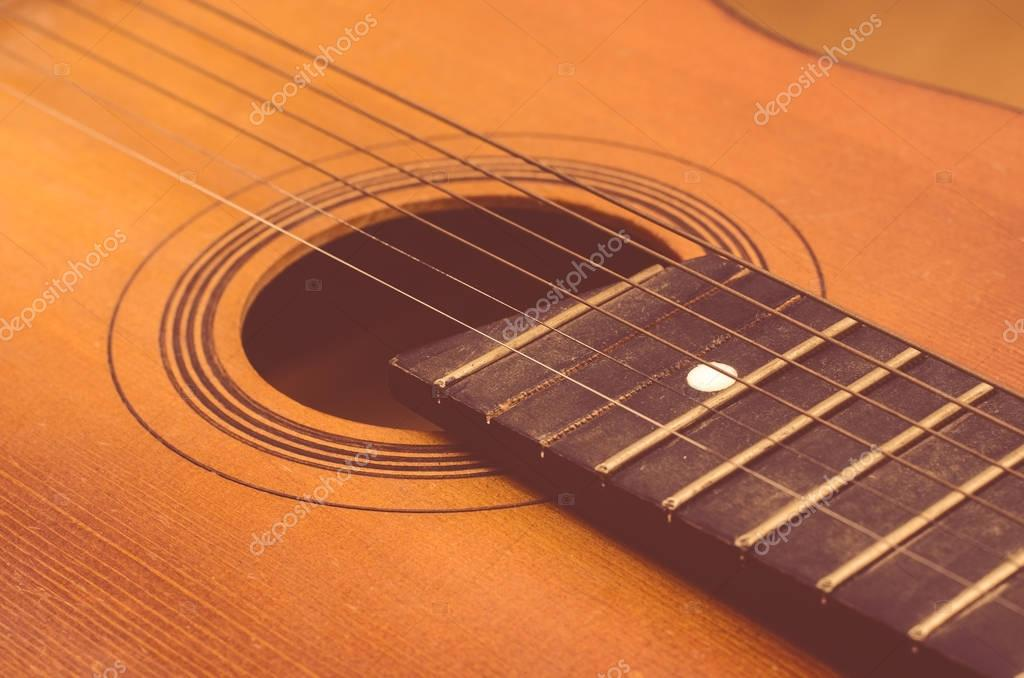 Detail of old acoustic guitar