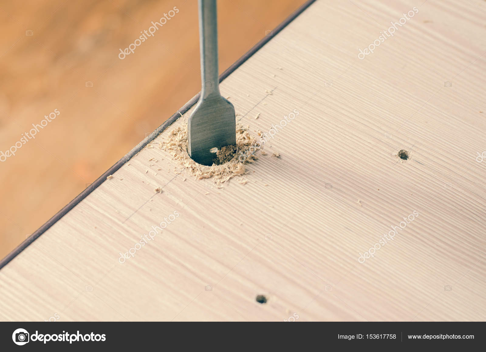 Drilling Holes In A Wooden Block Stock Photo C Andrei310 153617758