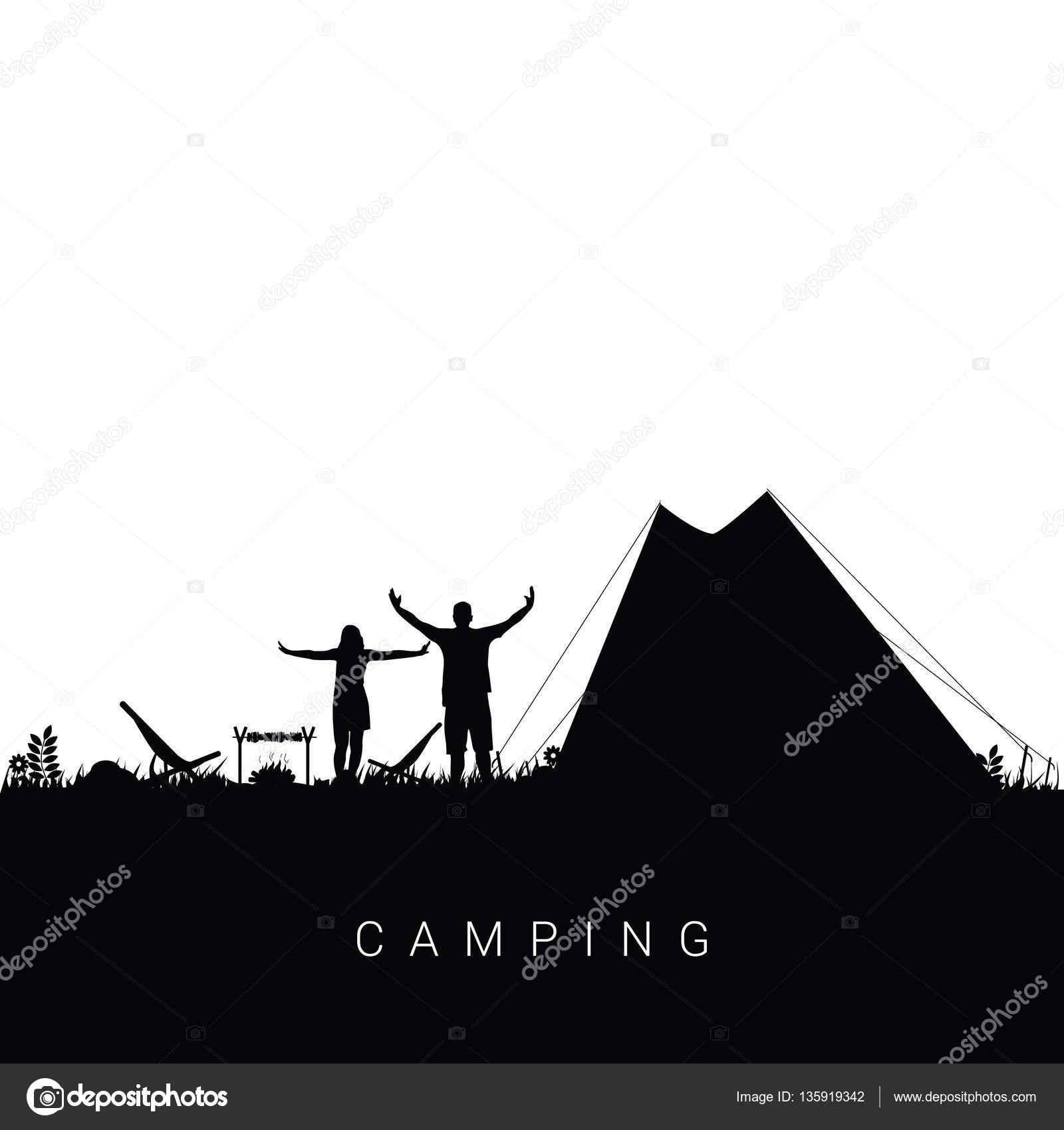 黒コロのカップル シルエット イラスト キャンプ自然 — ストック