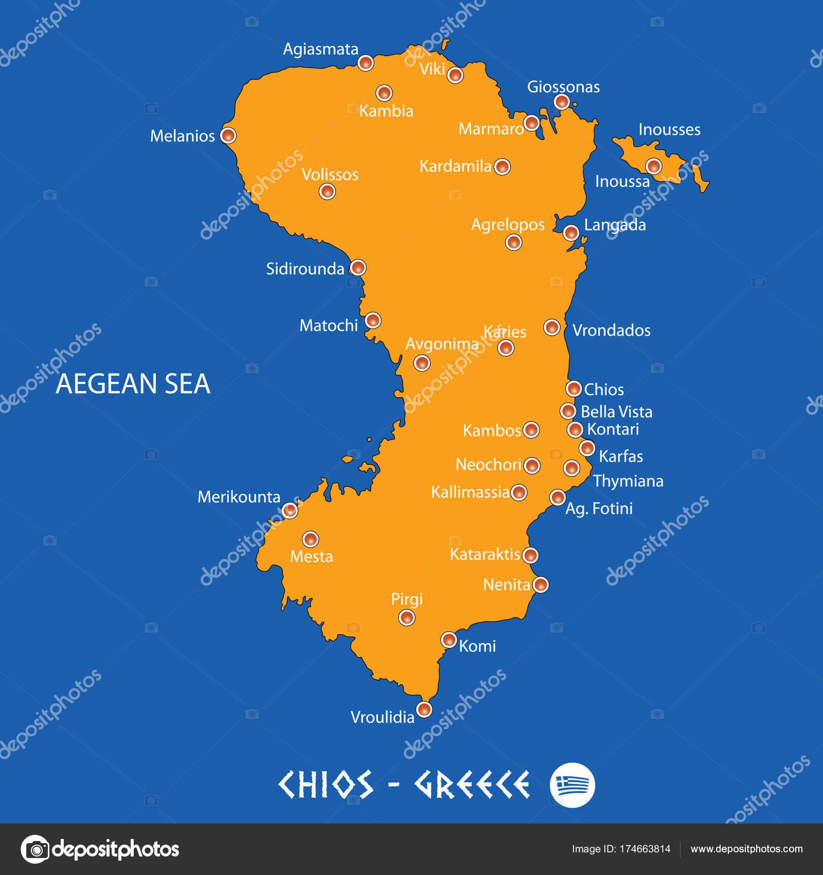 Mapa Ostrov Chios Mapa