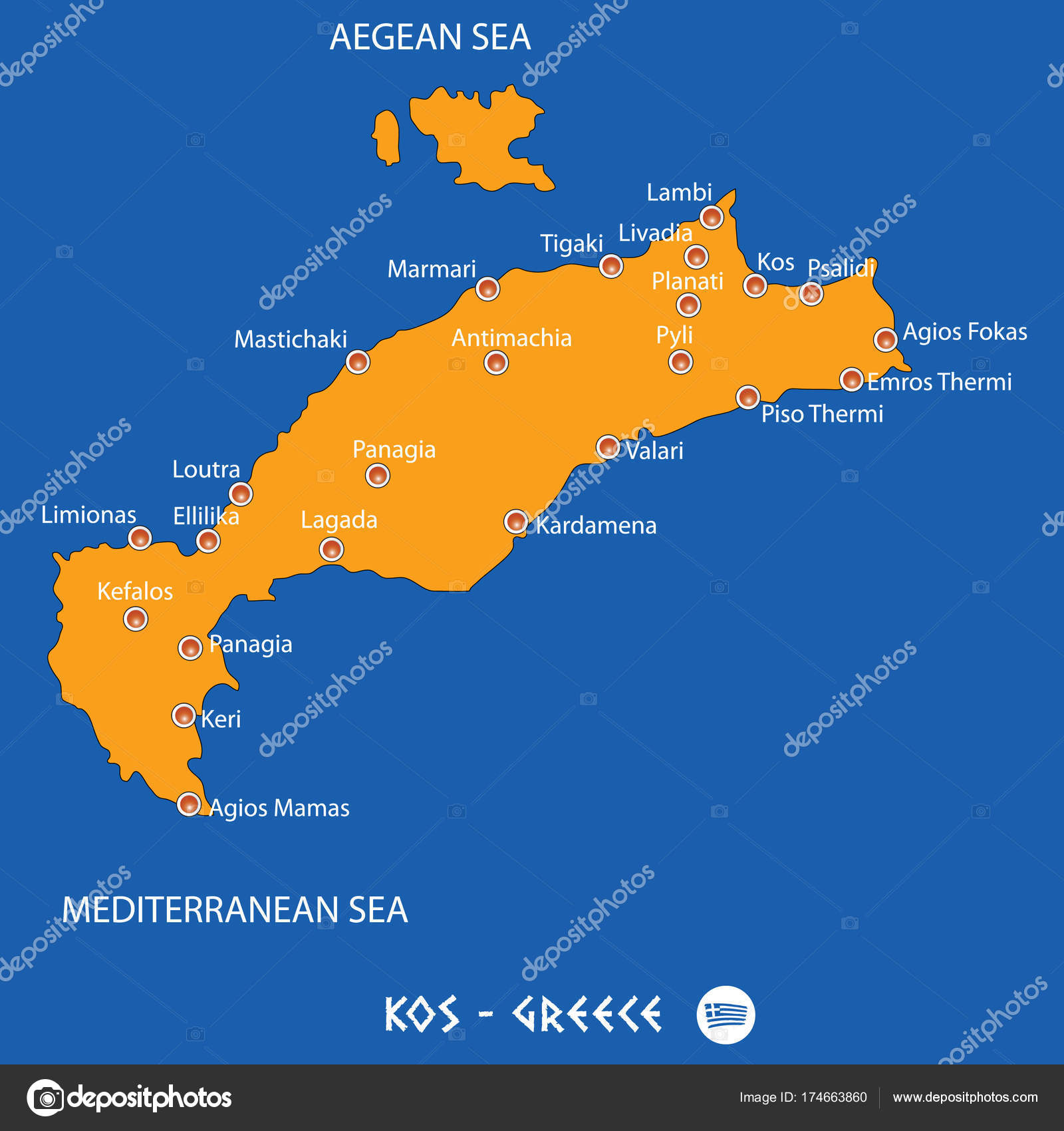Island of kos in greece orange map and blue background stock island of kos in greece orange map and blue background stock vector gumiabroncs Gallery