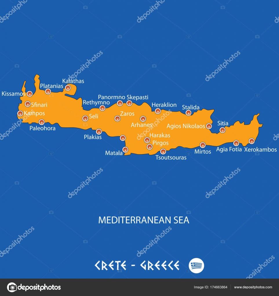 Griechenland Karte Kreta.Insel Kreta In Griechenland Orange Karte Und Blau