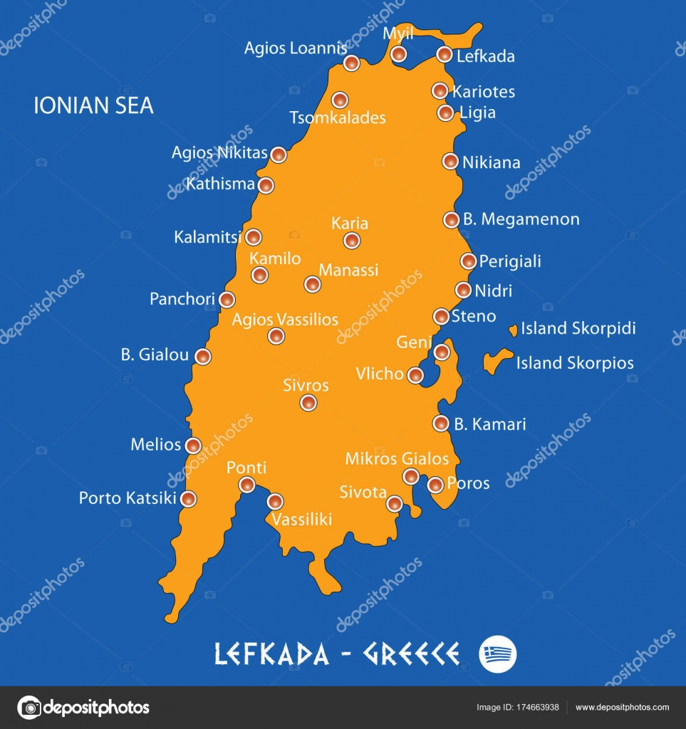 Island Of Lefkada In Greece Orange Map And Blue Background Stock