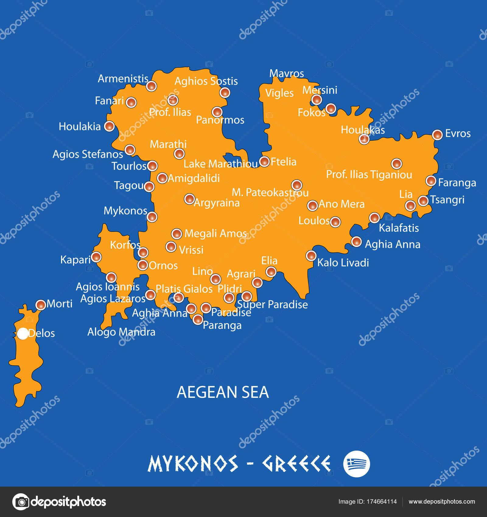 Karte Griechenland Mykonos.Insel Mykonos In Griechenland Orange Karte Und Blau Hintergrund