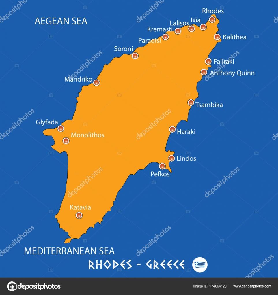 Isla De Rodas Mapa.Isla De Rodas En Grecia Naranja Mapa Y Azul De Fondo
