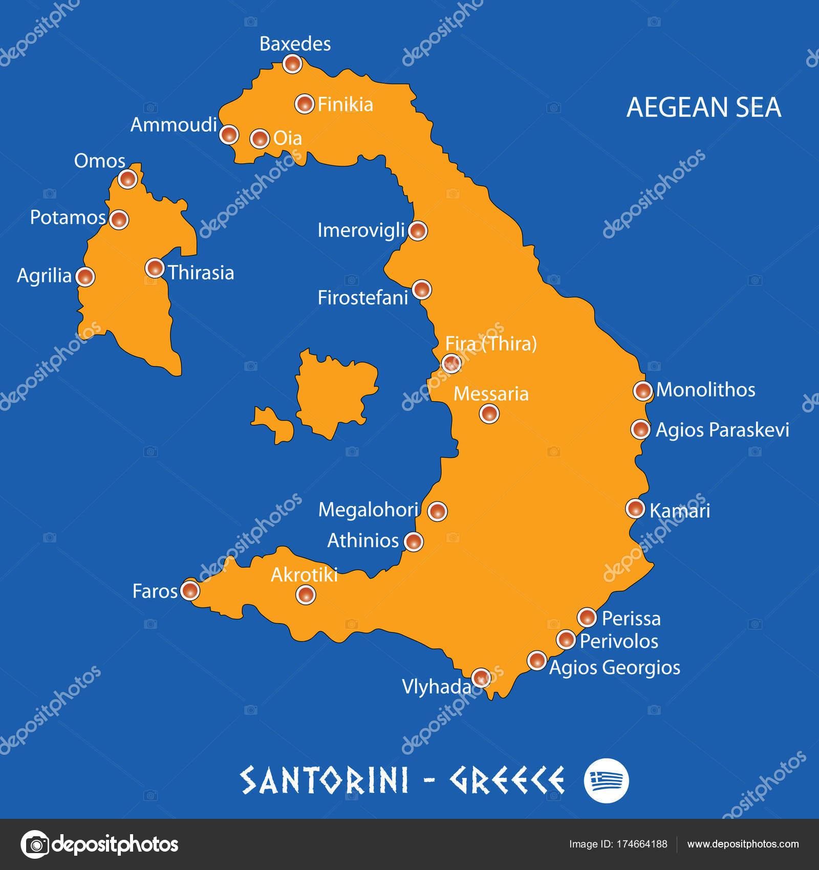 Island Of Santorini In Greece Orange Map And Blue Background