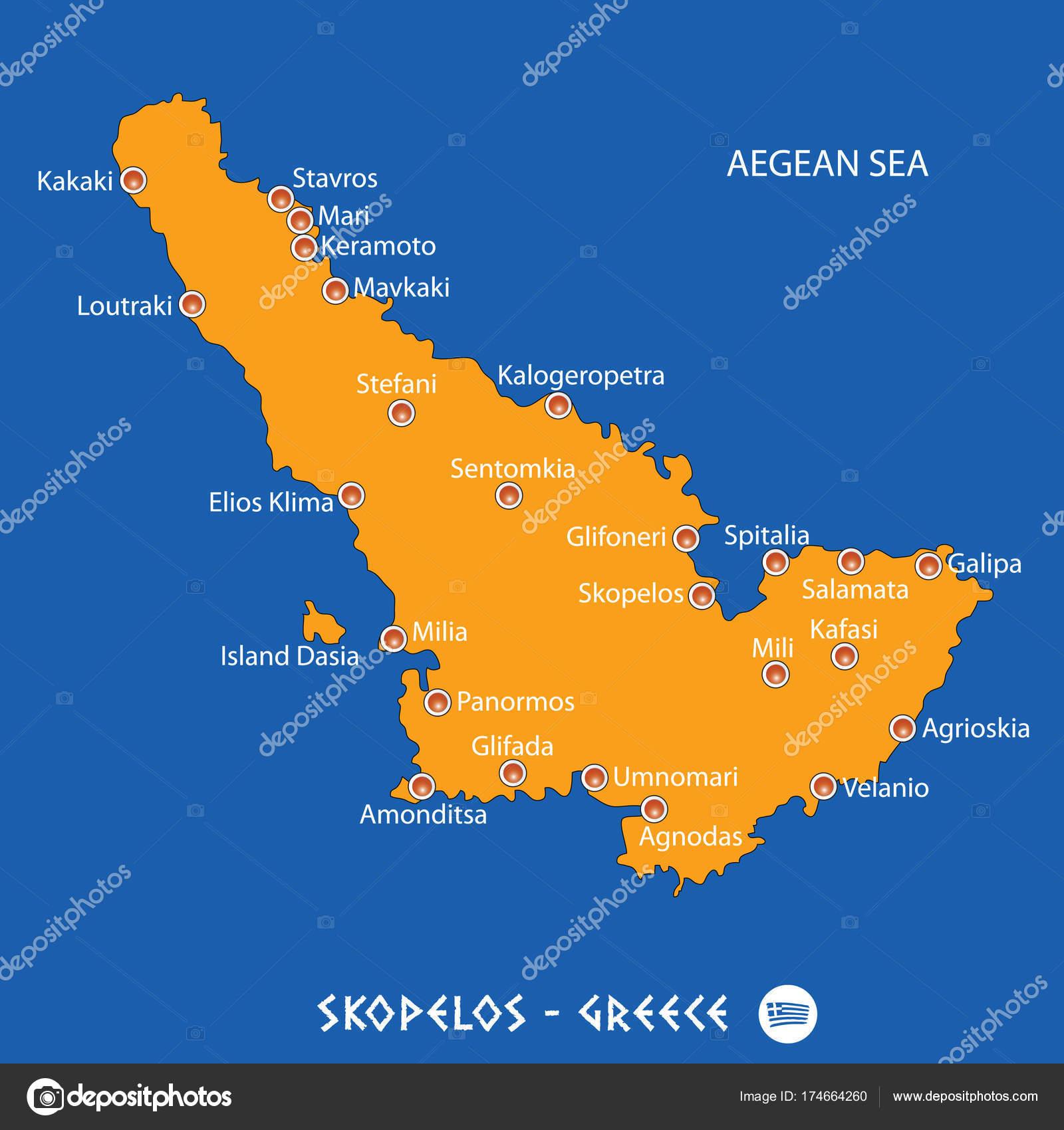Island Of Skopelos In Greece Orange Map And Blue Background