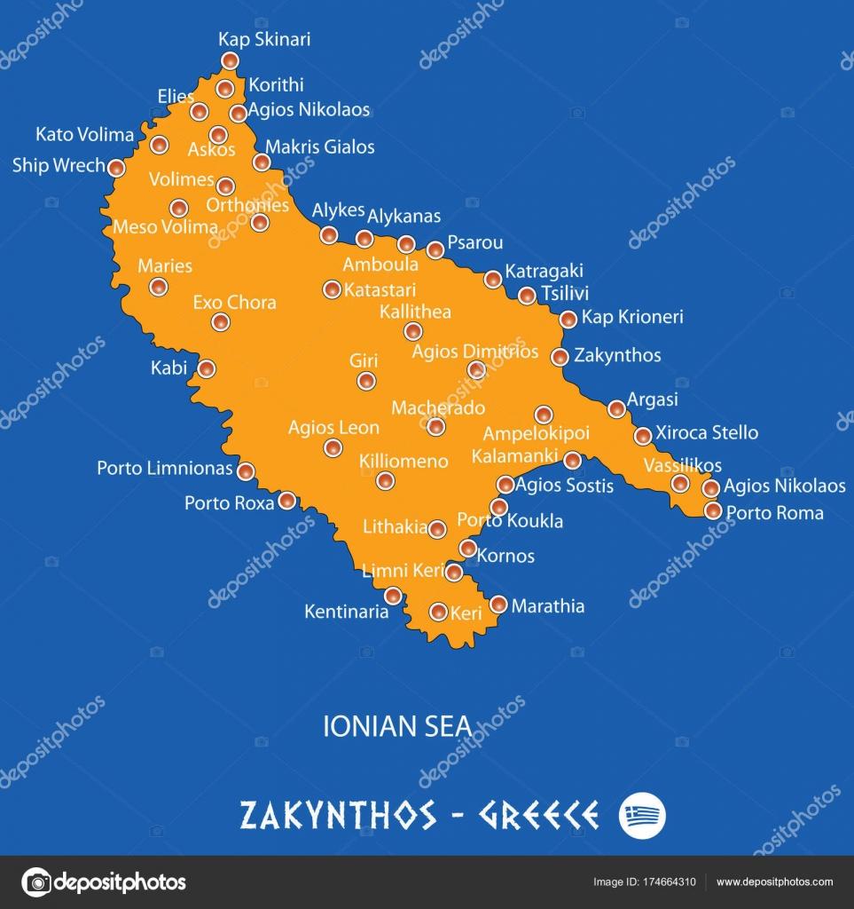 Island Of Zakynthos In Greece Orange Map And Blue Background