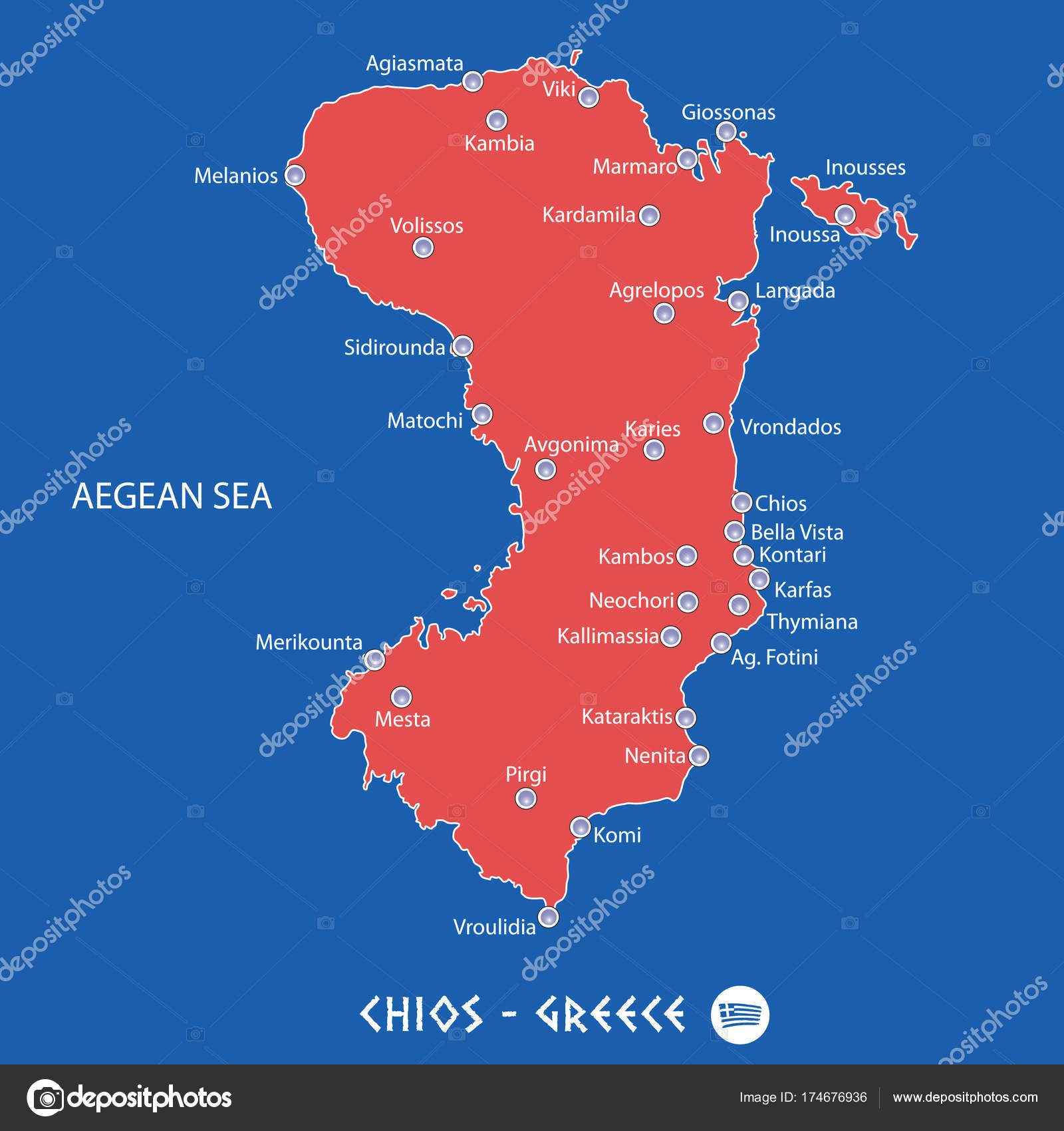 Island Of Chios In Greece Red Map Illustration Stock Vector