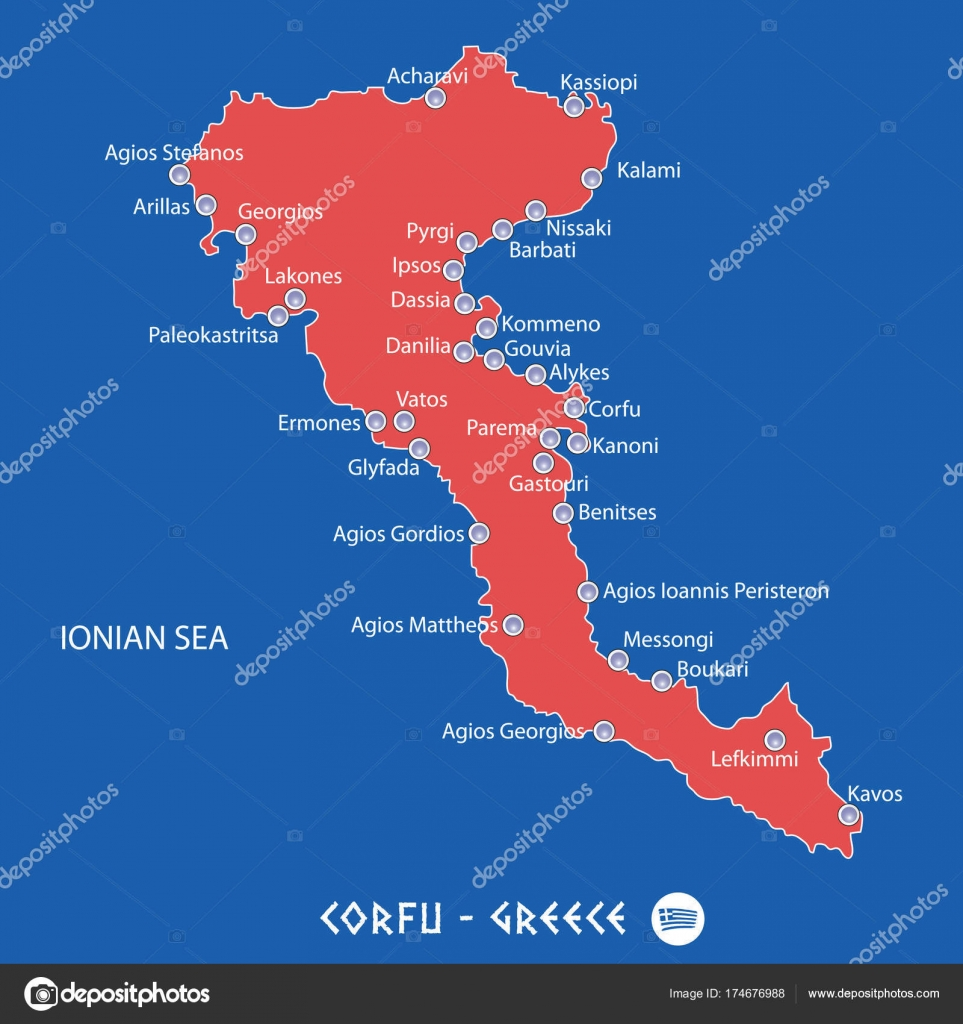 island of corfu in greece red map illustration Stock Vector