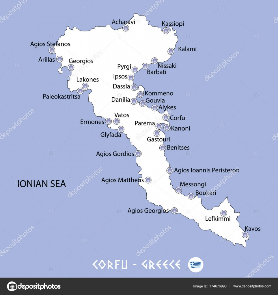 Island Of Corfu In Greece White Map And Blue Background Illustra