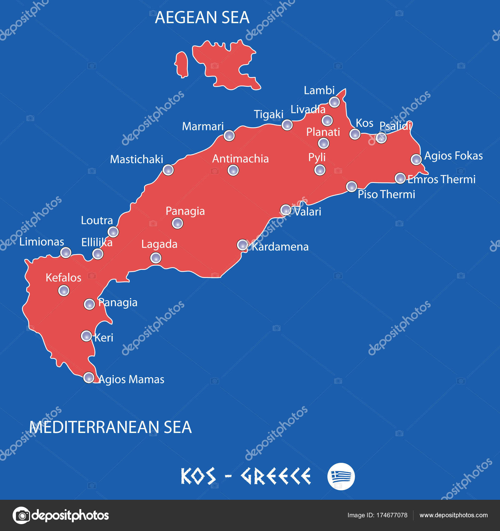 island of kos in greece red map illustration Stock Vector