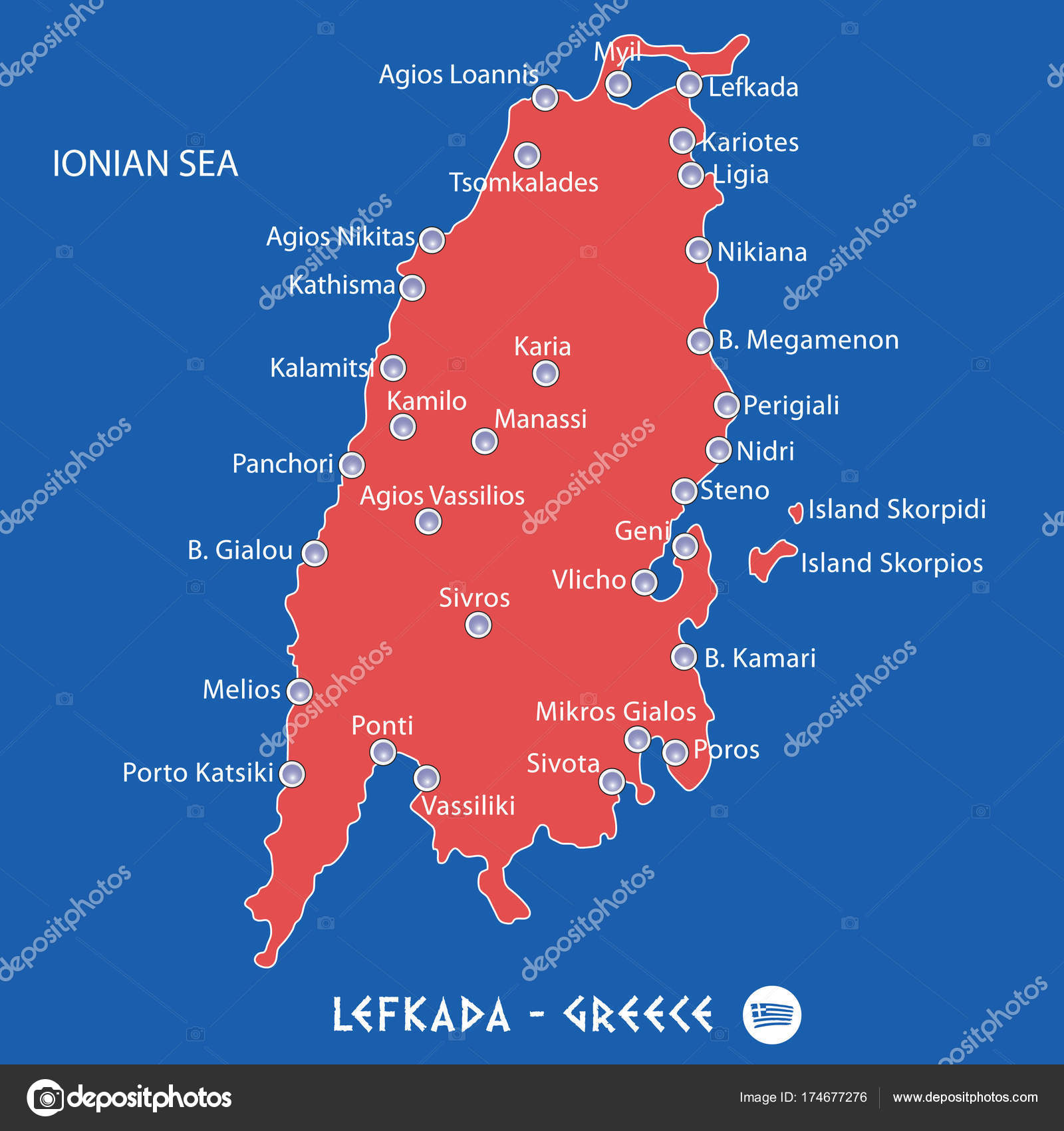 Island Of Lefkada In Greece Red Map Illustration Stock Vector