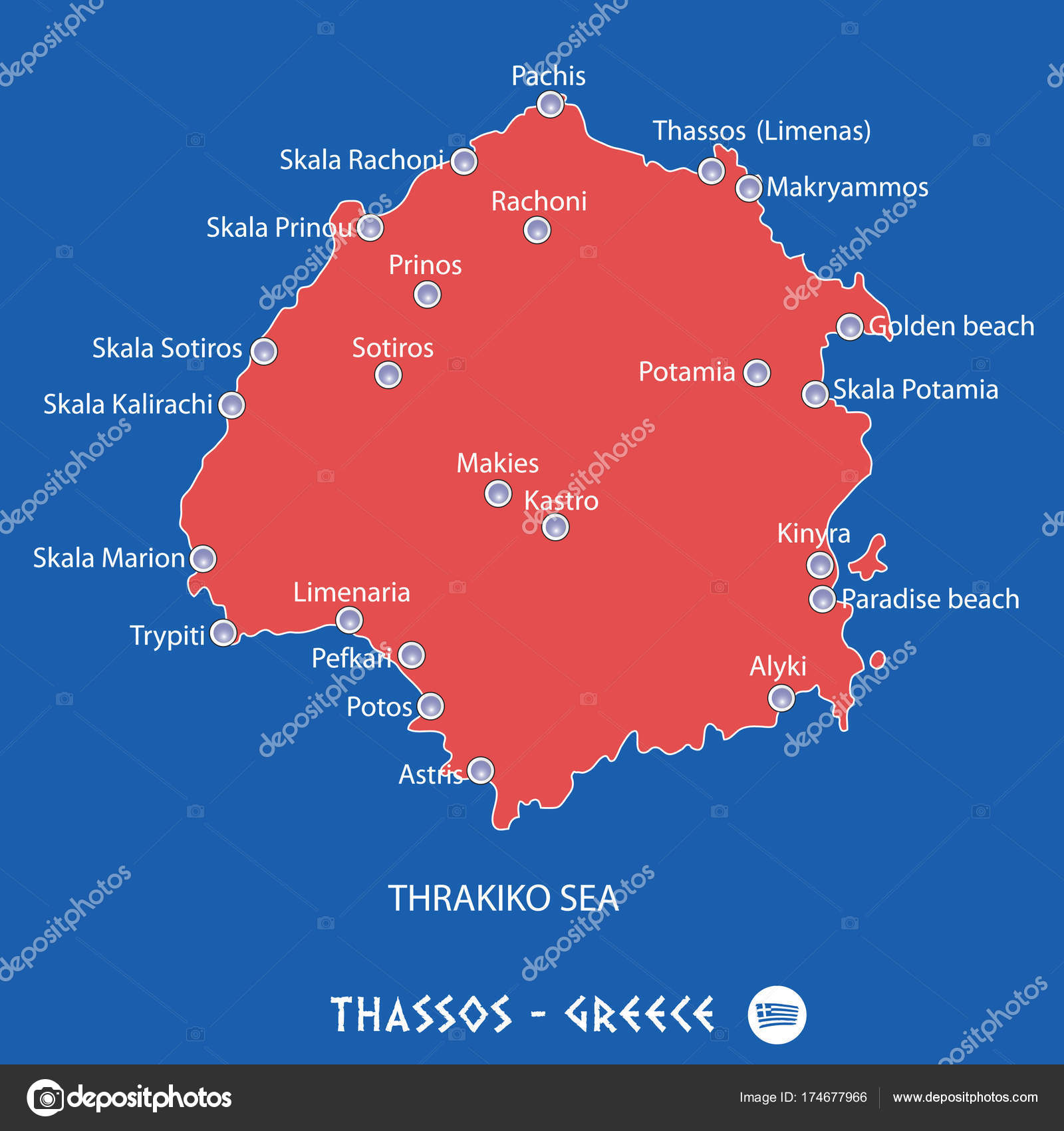 island of thassos in greece red map illustration Stock Vector