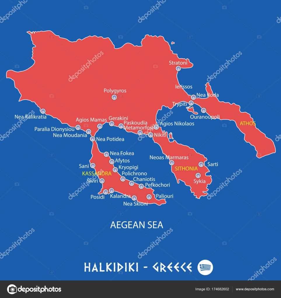 peninsula of halkidiki in greece red map illustration Stock Vector