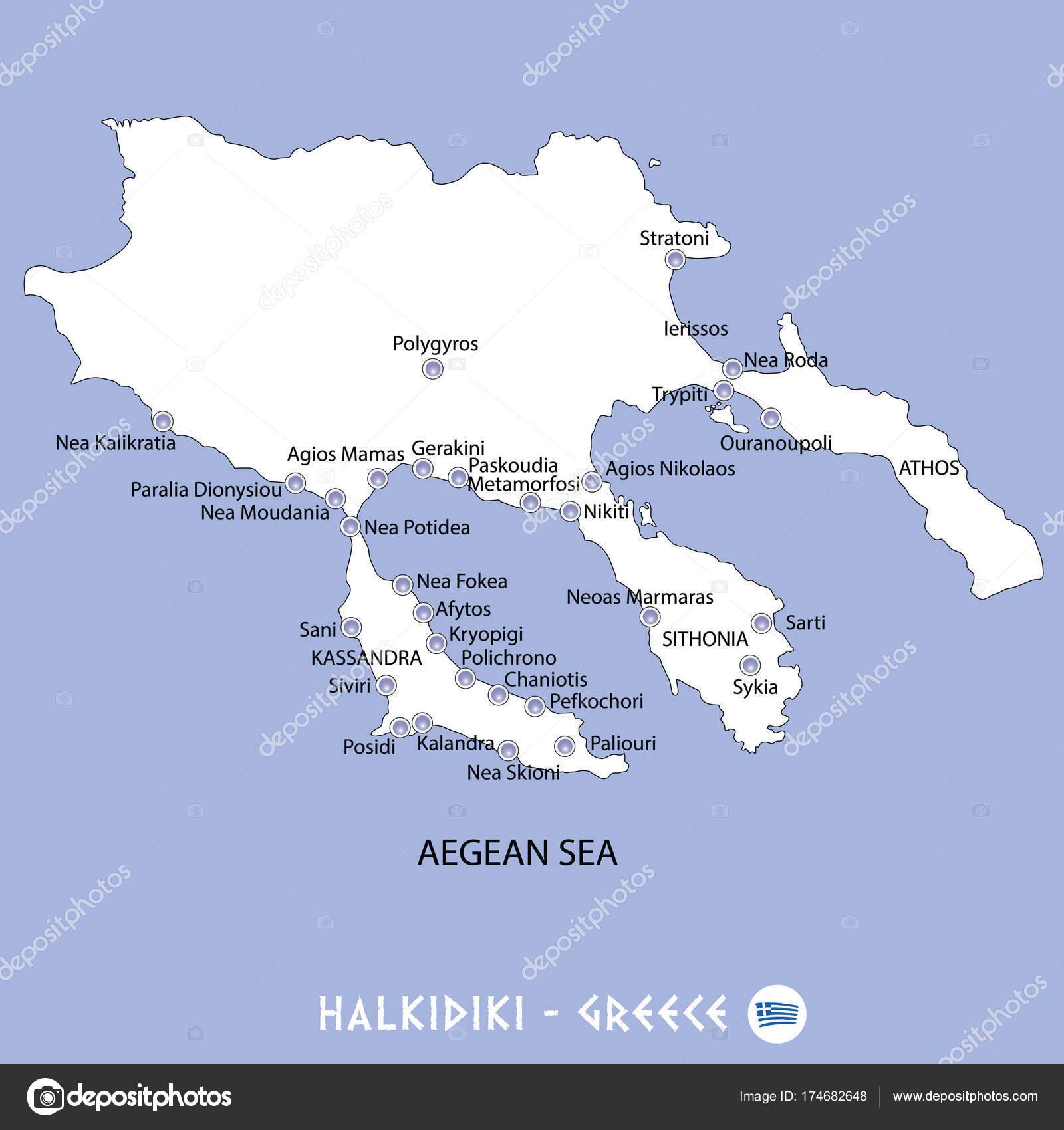 Peninsula of halkidiki in greece white map and blue background i ...