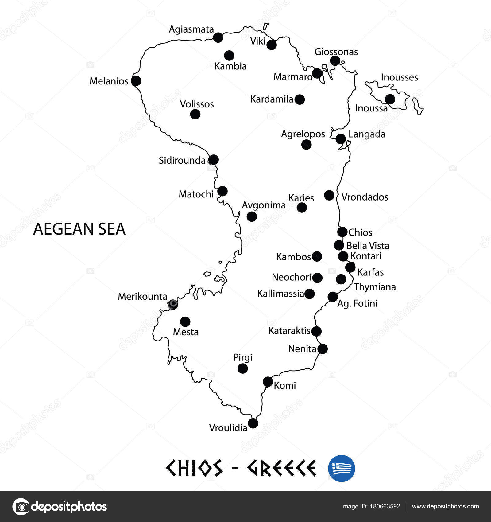 Island Of Chios In Greece Map On White Background Stock Vector