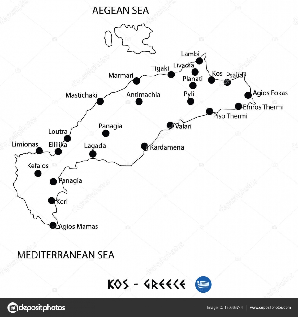 Island of kos in greece map on white background stock vector island of kos in greece map on white background stock vector gumiabroncs Gallery