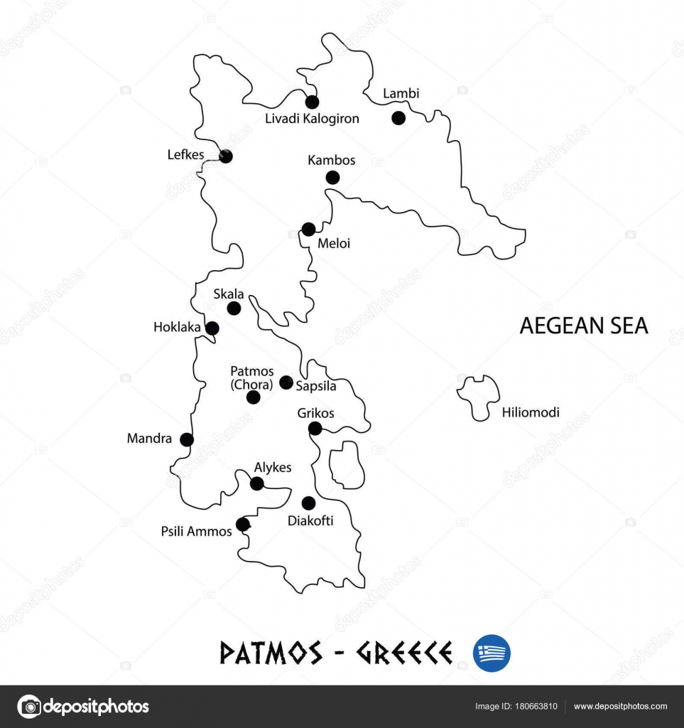 Island Of Patmos In Greece Map On White Background Stock Vector