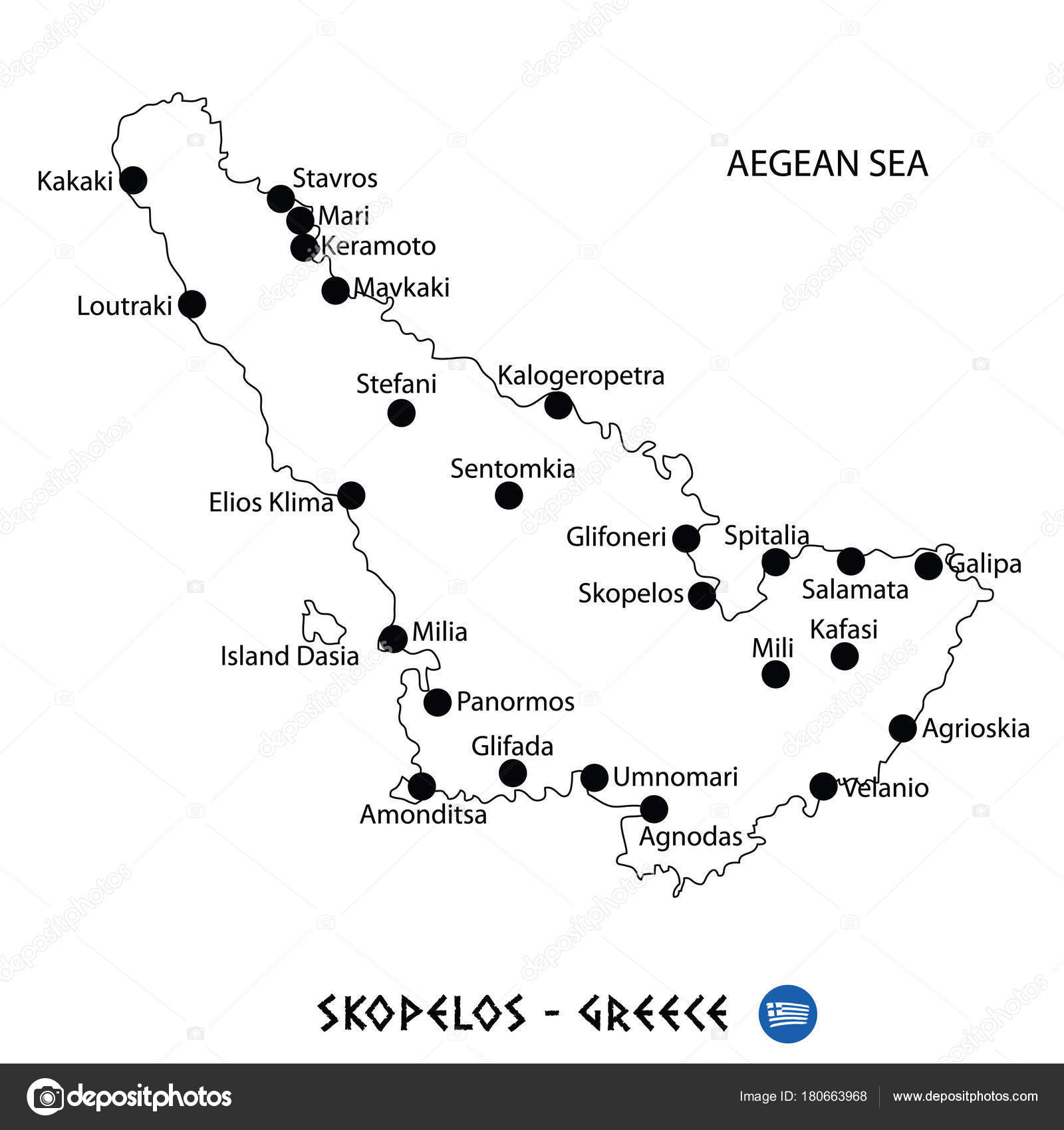 Island Of Skopelos In Greece Map On White Background Stock