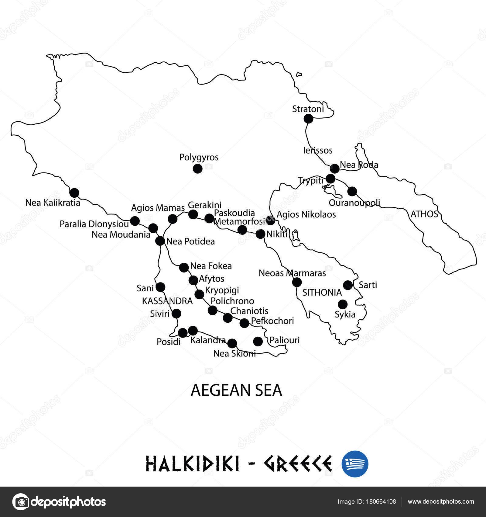 Peninsula Of Halkidiki In Greece Map On White Background Stock