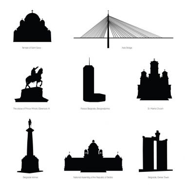 belgrade most famous buildings and statue silhouette