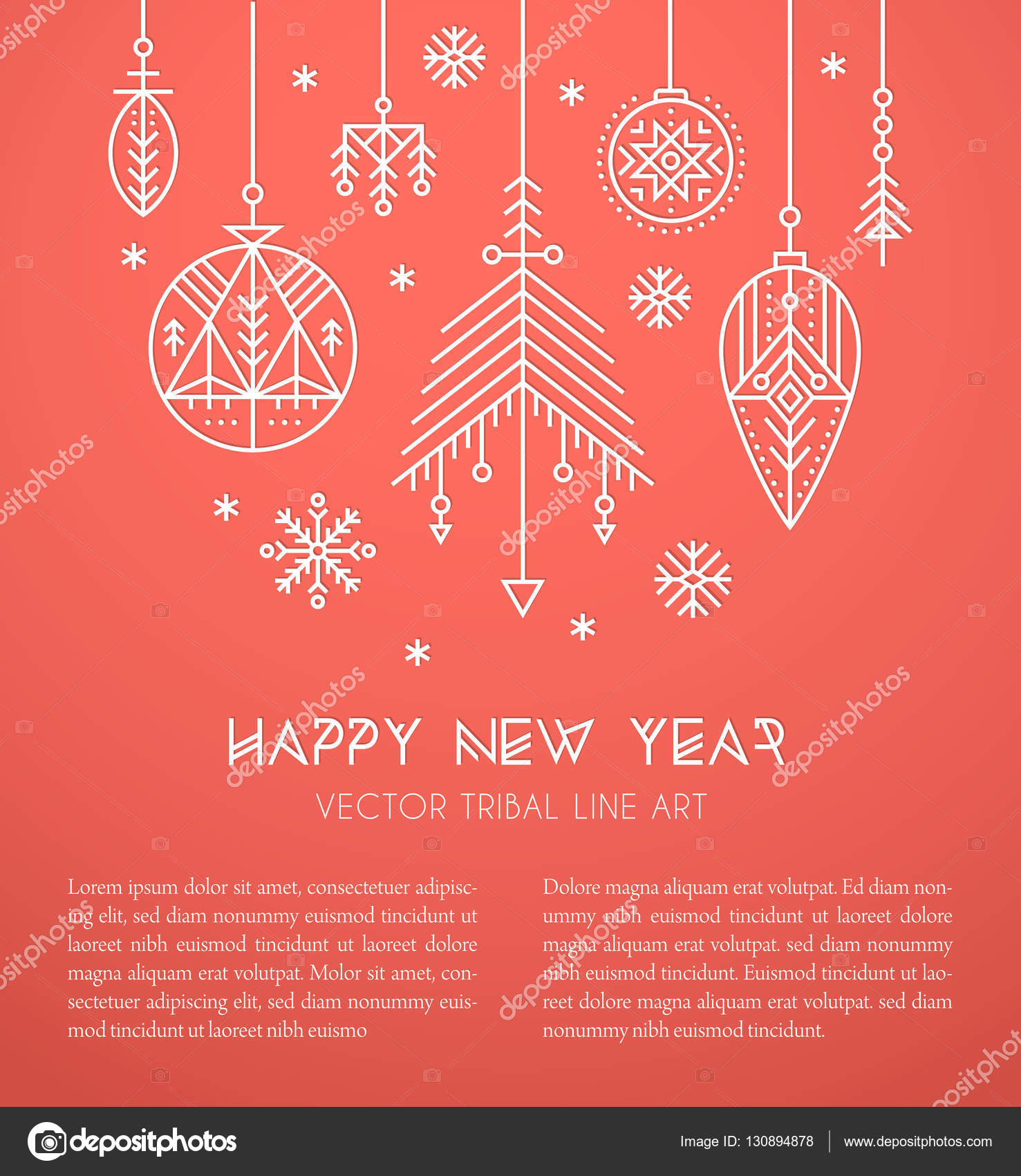 new year greeting card template with hanging decorations and snowflakes stock vector