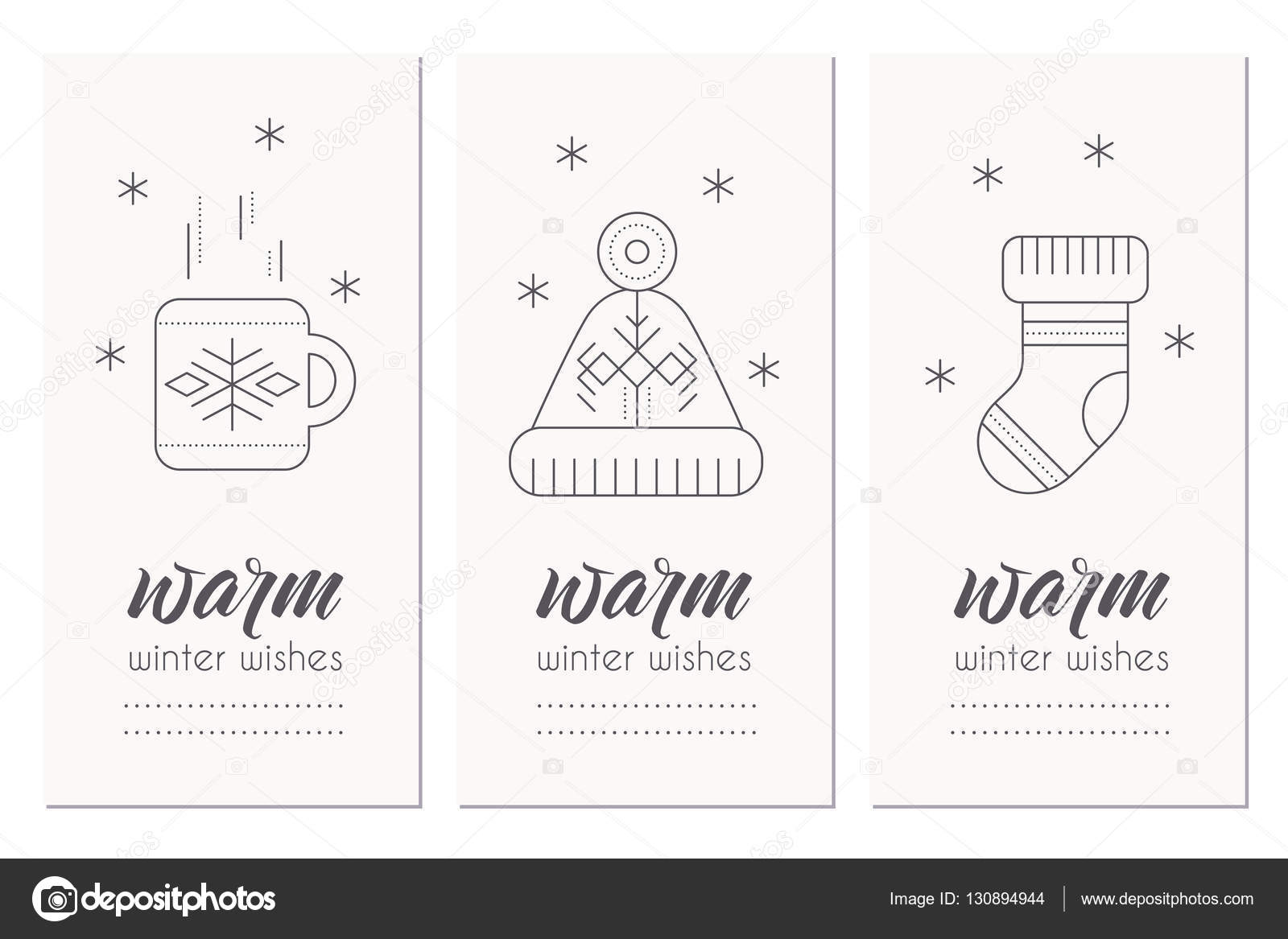 Winter Greeting Card Template With 2017 Sign And Decorations Stock