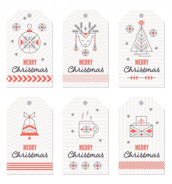 Collection of New Year and Christmas gift tags.