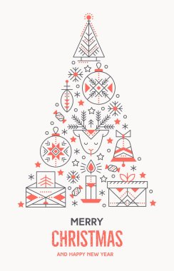 Christmas greeting card template with outlined signs forming a tree